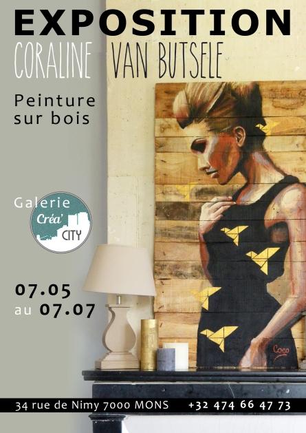 exposition de Coraline Van Butsele alias coco, peintre sur bois, à la galerie Créa City située à Mons en Belgique.