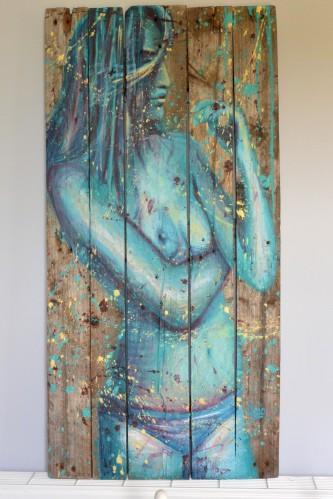 Blue Lagoon, acrylique sur bois, 100 x 49 cm