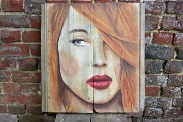 """""""Bouche Carmin"""", acrylique sur bois, 47,7 x 50 cm"""