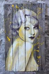 """""""Yellow wave"""", acrylique sur bois, 120 x 72,5 cm"""