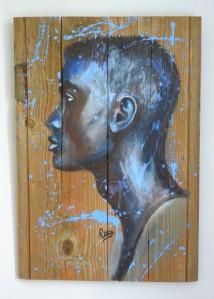 """""""Sekou"""", acrylique sur bois,  60,5 x 42 cm"""
