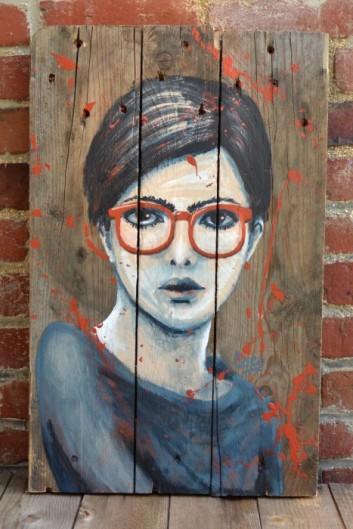 Suzanne-peinture sur bois-portrait