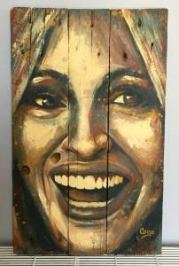 """""""Félicie"""", acrylique sur bois, 60 x 37 cm"""