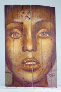 """""""Golden Eye"""", acrylique sur bois, 96 x 58 cm"""