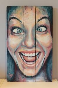 """""""Hey"""", acrylique sur bois, 60 x 36,5 cm"""