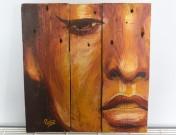 """""""L'Adorée"""", acrylique sur bois, 40 x 37,5 cm"""