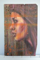 """""""Rose"""", acrylique sur bois,  60 x 38 cm"""