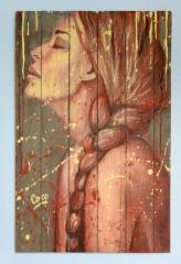 """""""Skinny Love"""", acrylique sur bois, 90 x 58 cm"""
