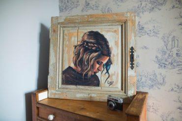 peinture sur bois- porte de placard-portrait
