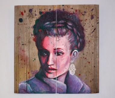 """""""Nadia"""" acrylique sur bois, 50,5 x 48 cm"""