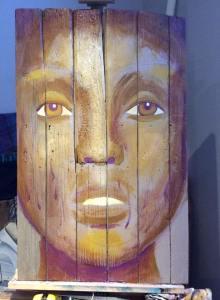 Première étape du tableau Golden Eye - peinture sur bois