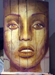 Deuxième étape du tableau Golden Eye - peinture sur bois