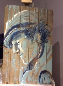 première étape de Charlie, tableau sur bois de palette