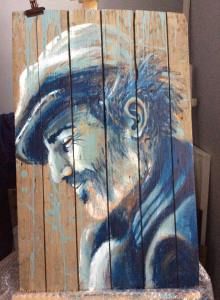 Deuxième étape de Charlie, tableau sur bois de palette