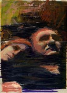 Exercice de peinture sur photo représentant un couple