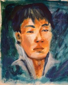 Esquisse à l'acrylique représentant un homme asiatique