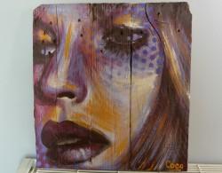 """""""La Trame"""", acrylique sur bois, 40 x 37,5 cm"""
