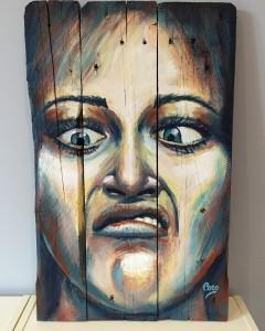 """""""monster"""",acrylique sur bois, 60 x 38 cm"""