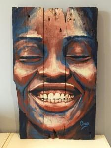 Joy, acrylique sur bois, 60 x 38 cm