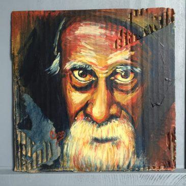 Portrait d'un vieil homme barbu acrylique sur carton ondulé dans les tons marron jaune et rouge