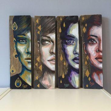 tableaux-bois-portrait-femme-motif-dorés