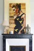 tableau-deco-decoration-ornament-peinture-art-woodart-birds-oiseaux-origami-cheminée-fireplace