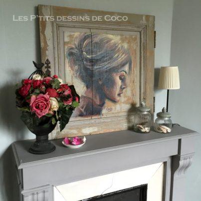 tableau-deco-decoration-ornament-peinture-portrait-profil-cheminée-fireplace-porte-placard-art-woodart