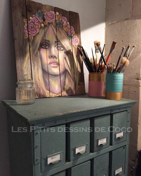 tableau-deco-decoration-ornament-peinture-fleurs-painting-doré-gold-portrait