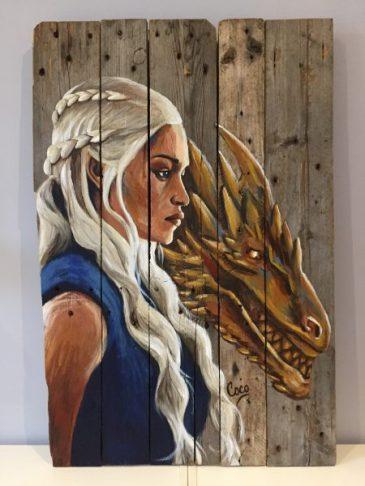 tableau peinture sur bois game of throne mère des dragons daenerys targaryen