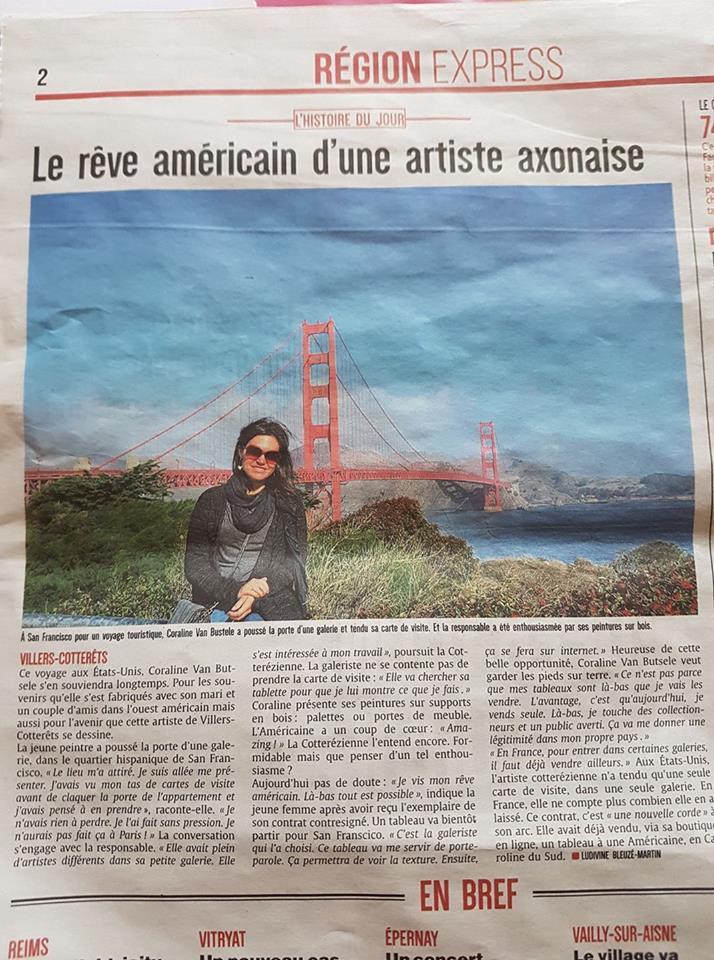 article dans le journal l'union du 7 février 2017. histoire du jour, Coraline Van Butsele à San Francisco