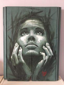 portrait de femme, peinture réalisée par Coraline Van Butsele