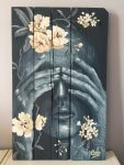 Peinture, portrait à l'acrylique sur bois, réalisé par Coraline Van Butsele