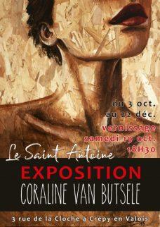 exposition de l'artiste Coraline Van Butsele au Restaurant Le Saint Antoine à Crépy en Valois