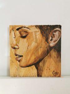 Portrait peinture sur osb de Coraline Van Butsele