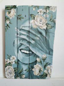 Tableau de Coraline Van Butsele, artiste peintre française Peinture sur bois de la collection Naturelle