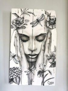 Peinture sur bois de Coraline Van Butsele