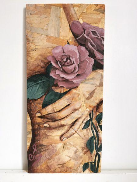 Tableau de Coraline Van Butsele réalisé à l'ocassion d'octobre rose, artiste peintre française Peinture sur bois de la collection Naturelle
