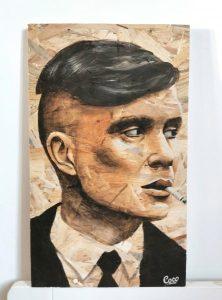 Portrait de Tommy shelby de la série Peaky blinders peinture sur osb de Coraline Van Butsele
